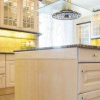 Beauty and bright kitchen interior in traditional sty