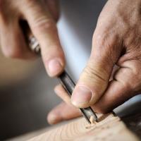 hands of a carpenter, close up
